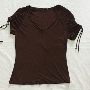 Banana Republic V-Neck Tie Sleeve Top Brown Sz L